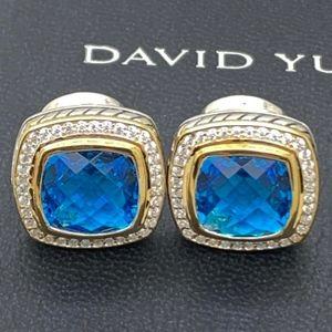 David Yurman925 18K 11mm London B.Topaz Earrings